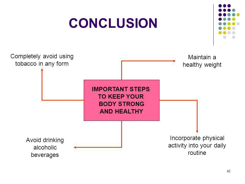 CONCLUSION Completely avoid using tobacco in any form