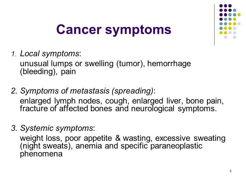 Cancer symptoms 1. Local symptoms: unusual lumps or swelling (tumor), hemorrhage (bleeding), pain.
