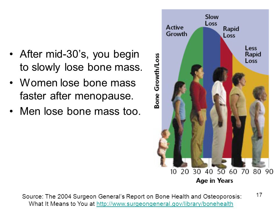 After mid-30's, you begin to slowly lose bone mass.