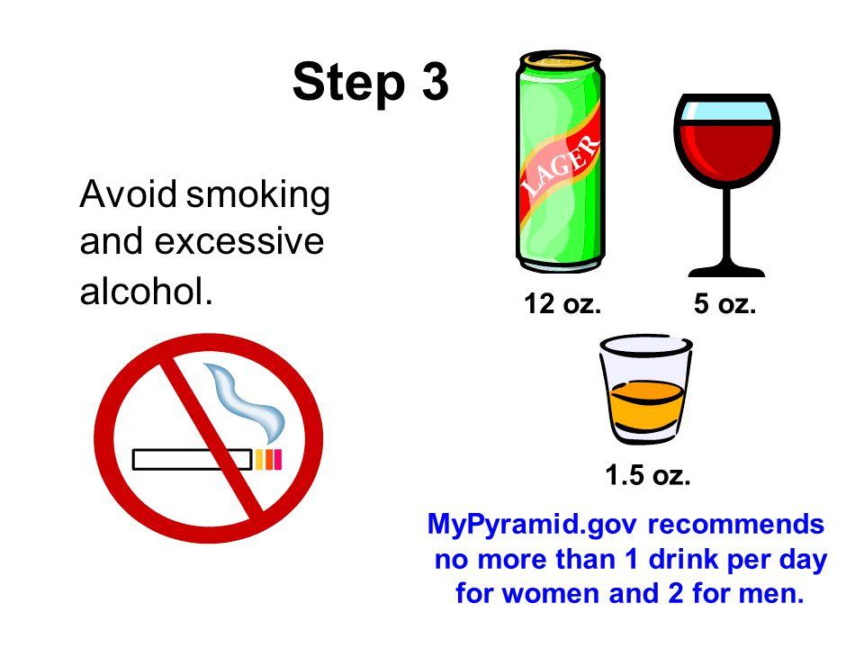 Step 3 Avoid smoking and excessive alcohol. 12 oz. 5 oz. 1.5 oz.