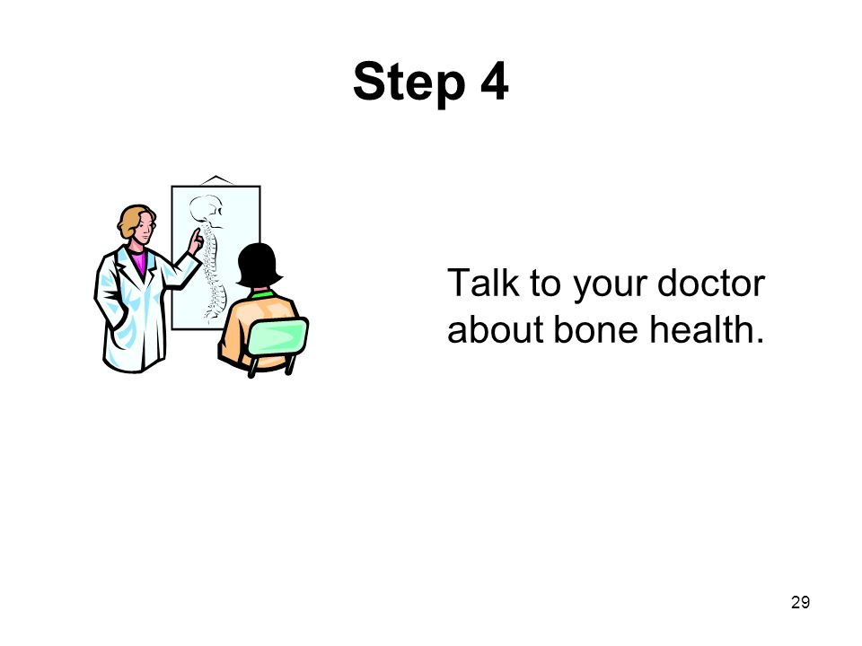 Step 4 Talk to your doctor about bone health. Be sure to discuss