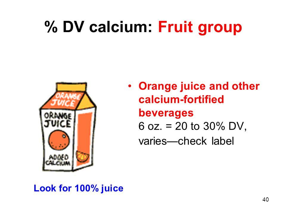 % DV calcium: Fruit group