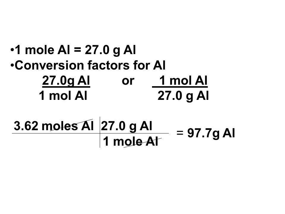 1 mole Al = 27.0 g Al Conversion factors for Al. 27.0g Al or 1 mol Al. 1 mol Al 27.0 g Al.