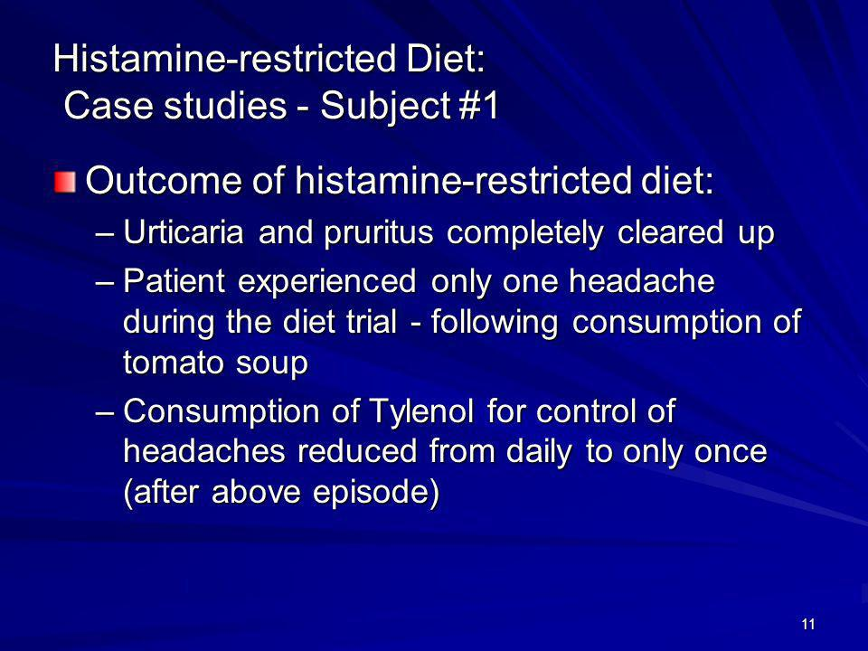 Histamine-restricted Diet: Case studies - Subject #1