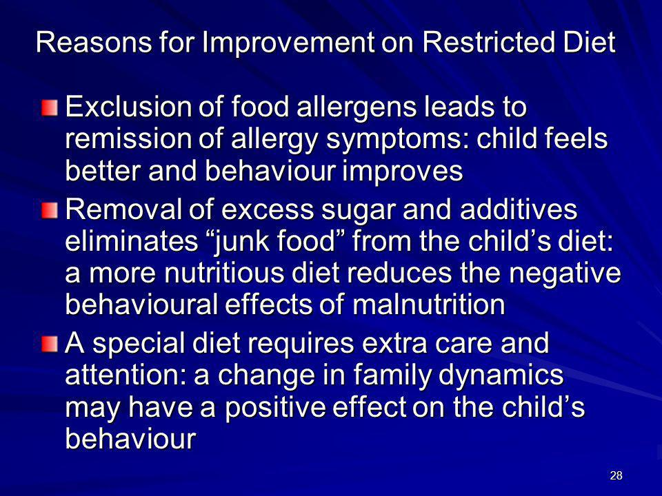 Reasons for Improvement on Restricted Diet