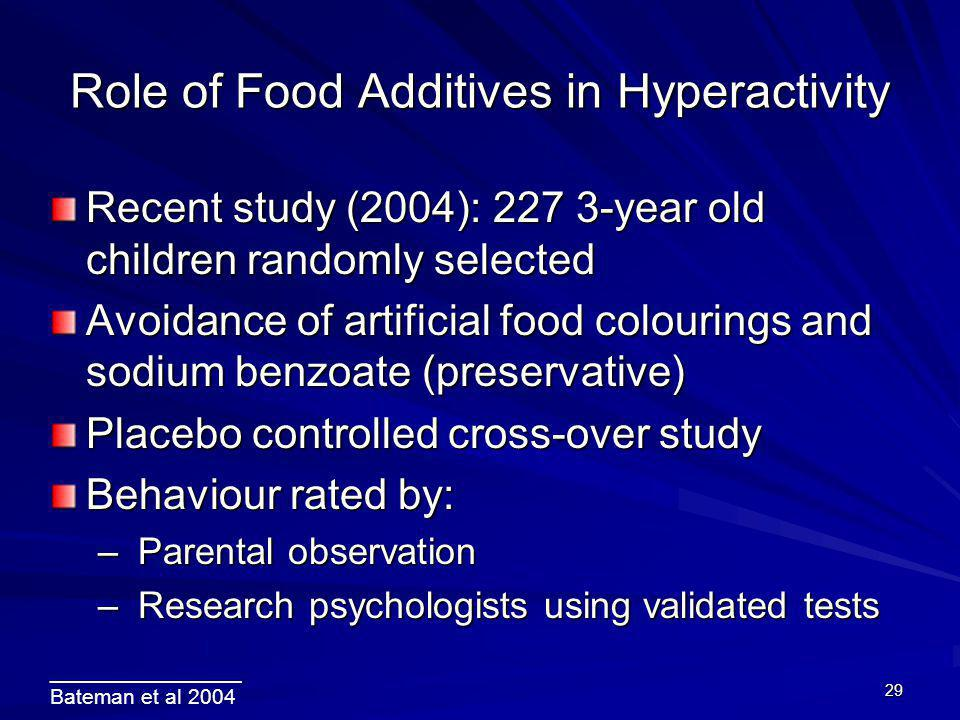 Role of Food Additives in Hyperactivity