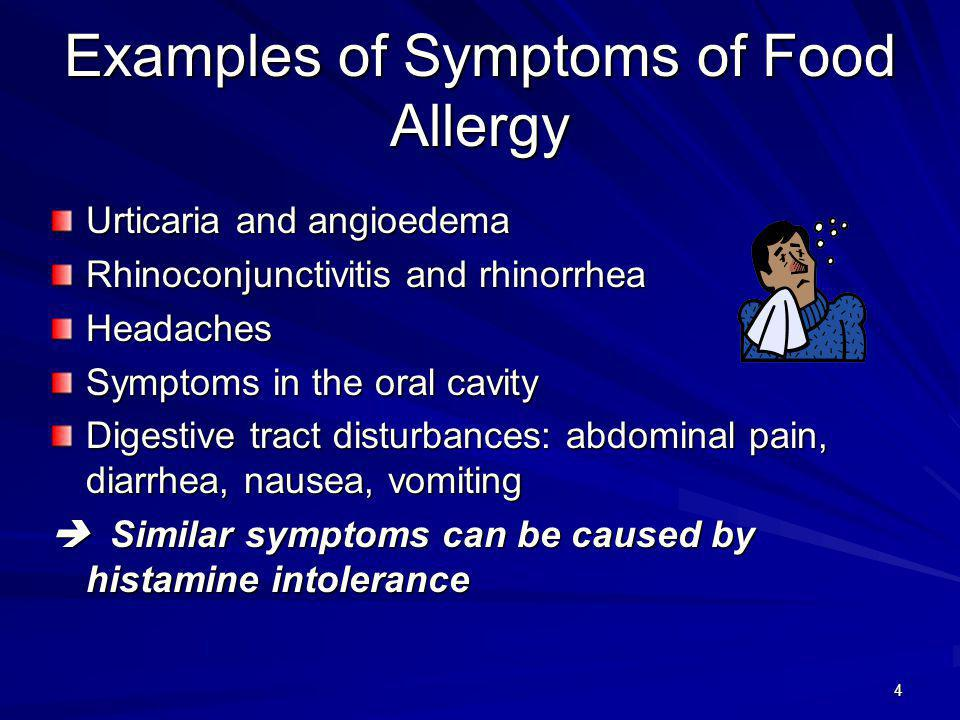 Examples of Symptoms of Food Allergy