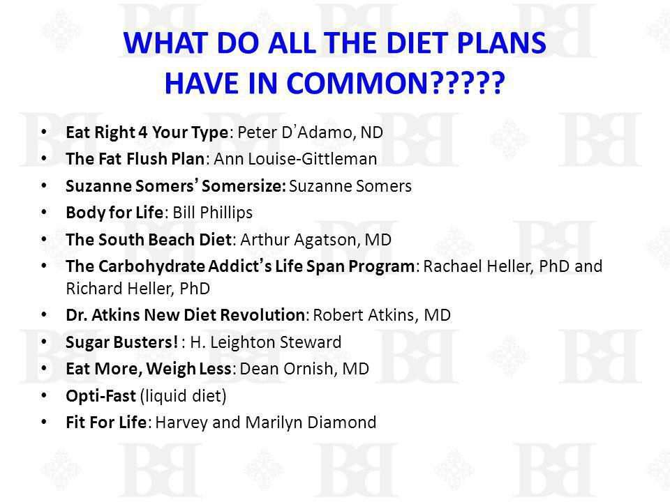 WHAT DO ALL THE DIET PLANS HAVE IN COMMON