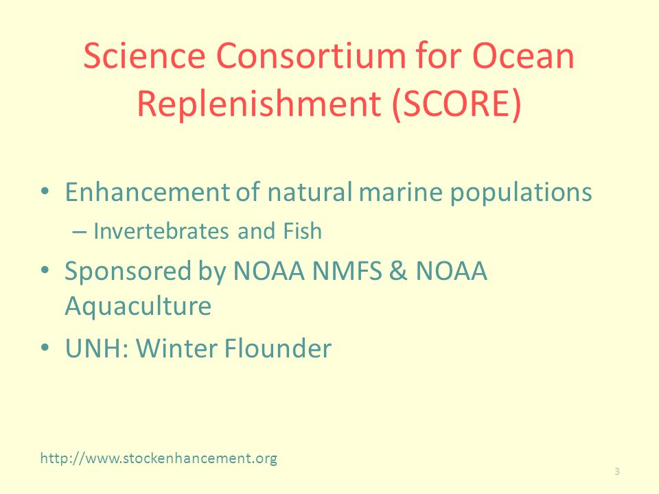 Science Consortium for Ocean Replenishment (SCORE)