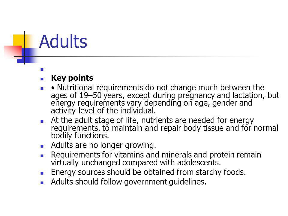 Adults Key points.