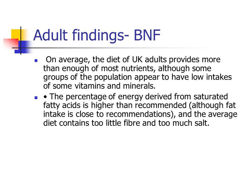 Adult findings- BNF