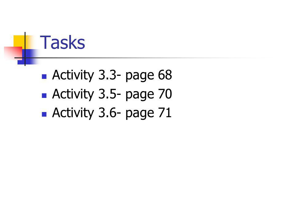 Tasks Activity 3.3- page 68 Activity 3.5- page 70