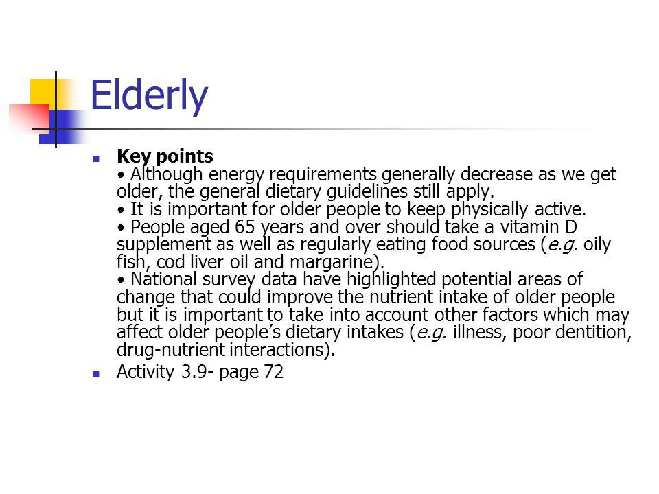 Dietary needs throughout life - ppt video online download