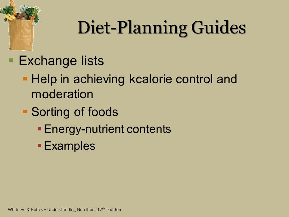 Diet-Planning Guides Exchange lists