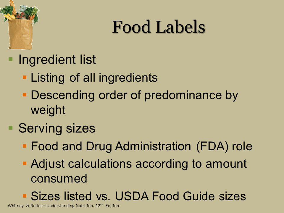 Food Labels Ingredient list Serving sizes Listing of all ingredients