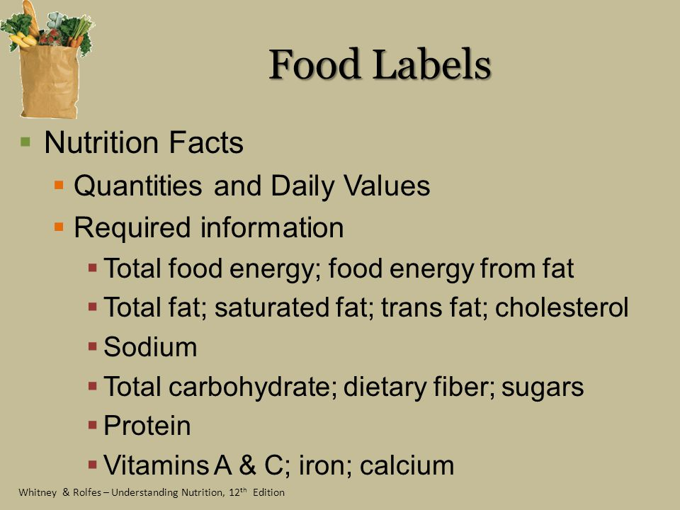 Food Labels Nutrition Facts Quantities and Daily Values
