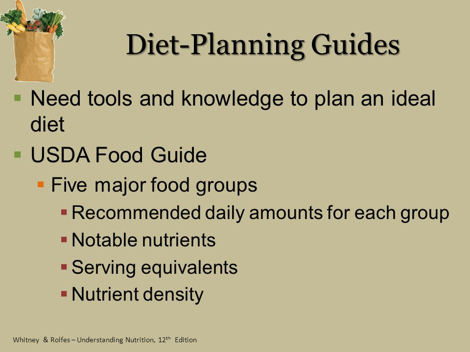 Diet-Planning Guides Need tools and knowledge to plan an ideal diet