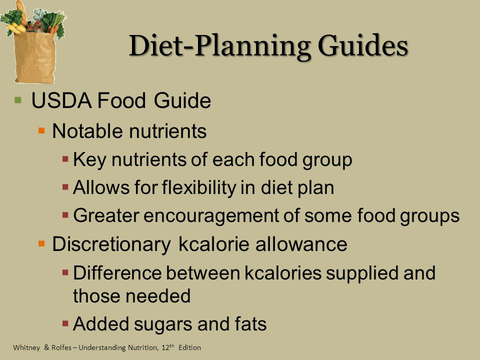 Diet-Planning Guides USDA Food Guide Notable nutrients