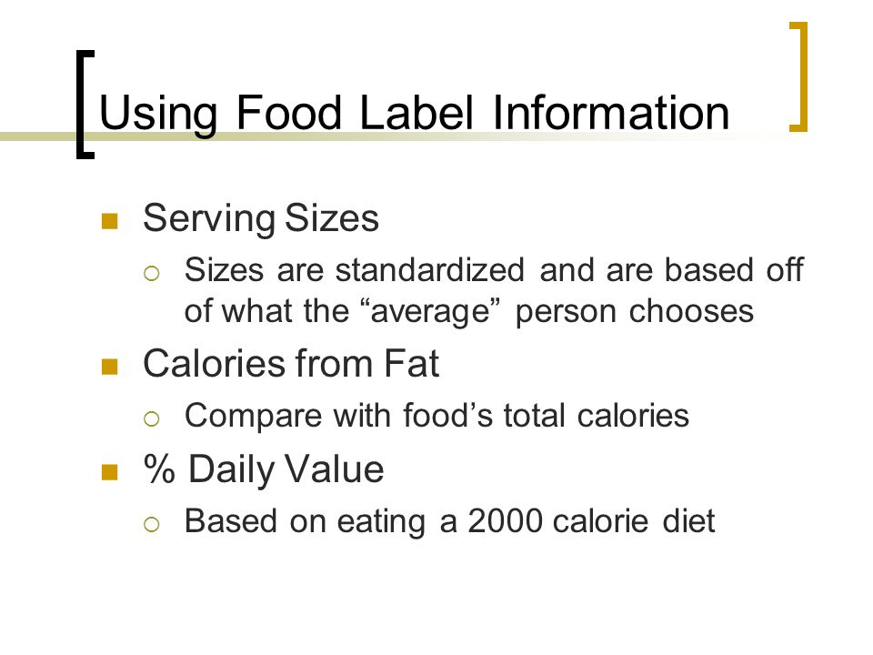 Using Food Label Information