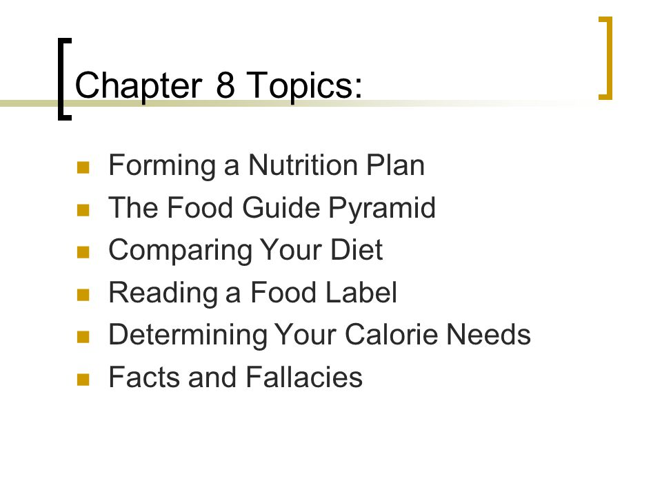 Chapter 8 Topics: Forming a Nutrition Plan The Food Guide Pyramid