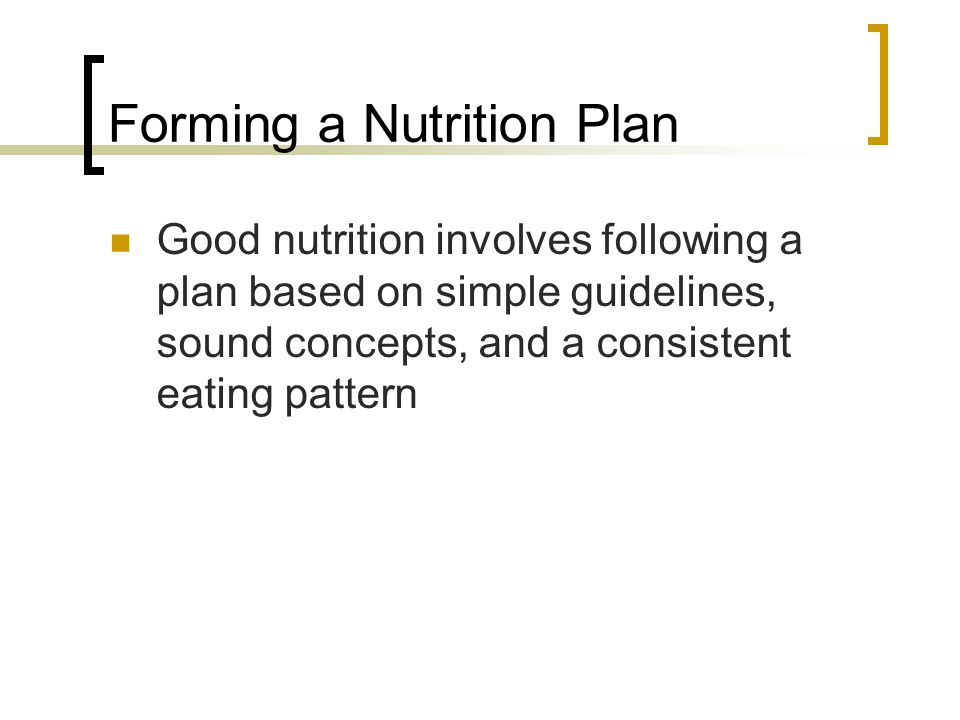 Forming a Nutrition Plan