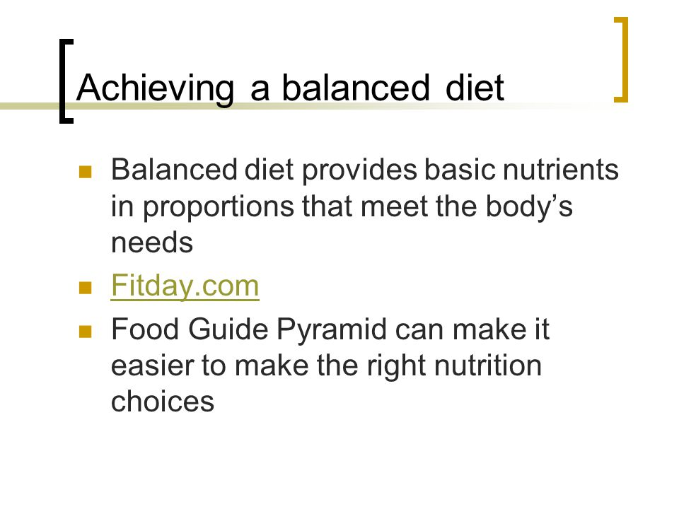 Achieving a balanced diet