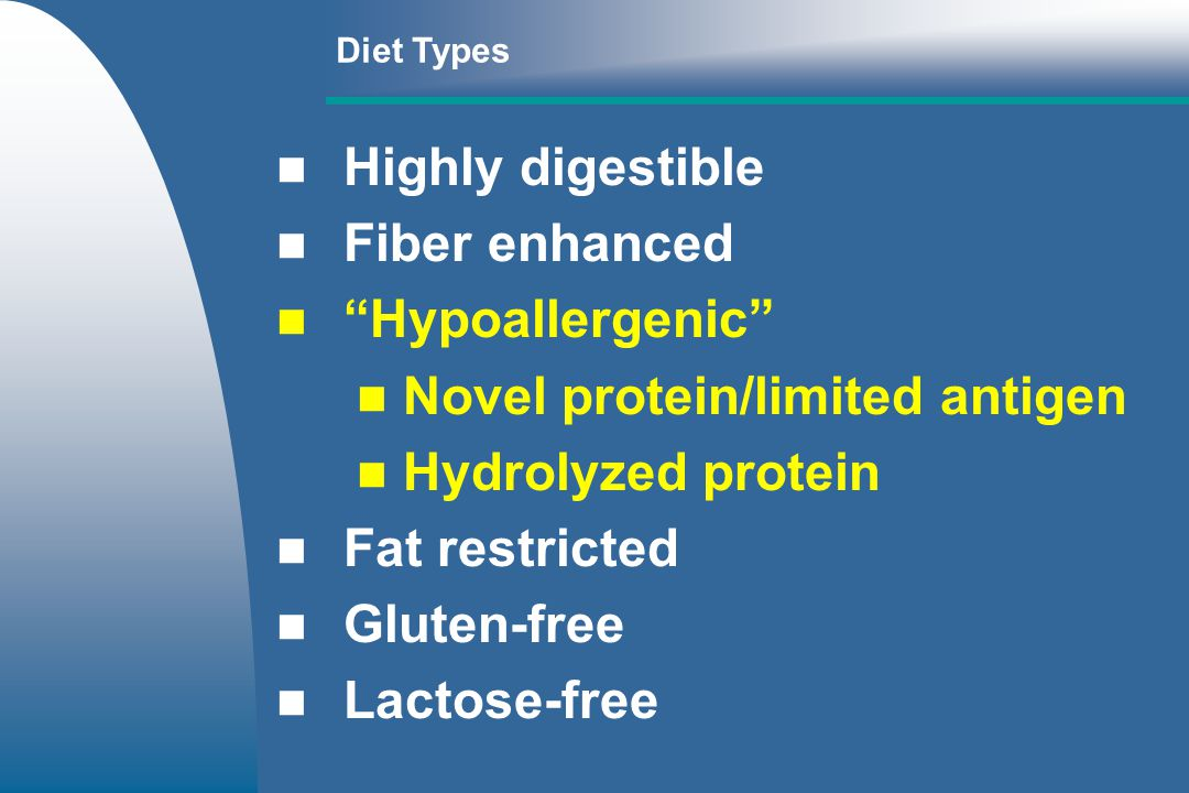 Novel protein/limited antigen Hydrolyzed protein Fat restricted