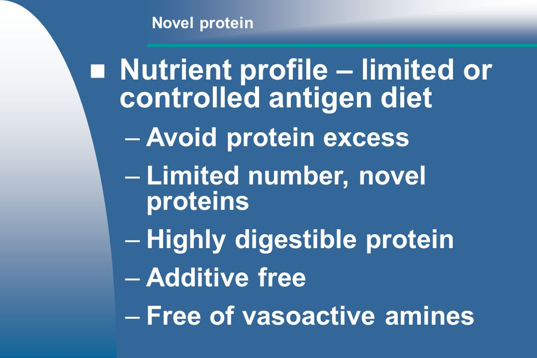Nutrient profile – limited or controlled antigen diet