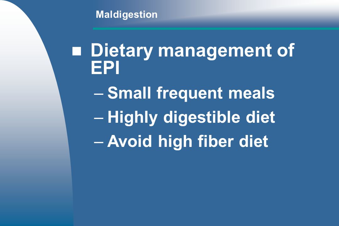 Dietary management of EPI