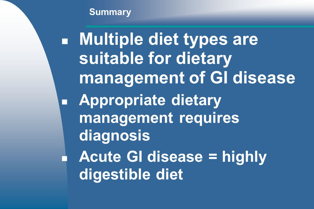 Multiple diet types are suitable for dietary management of GI disease