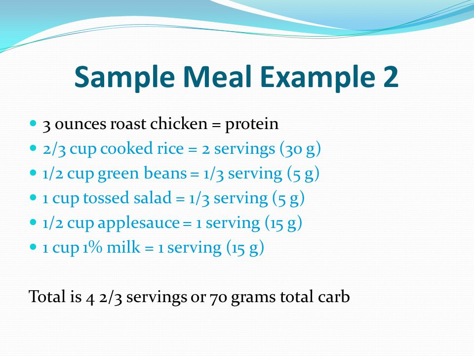 Sample Meal Example 2 3 ounces roast chicken = protein