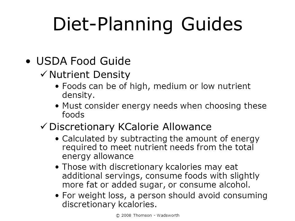 Diet-Planning Guides USDA Food Guide Nutrient Density