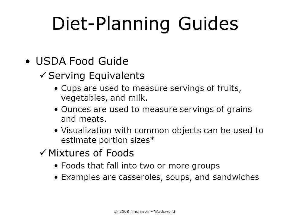 Diet-Planning Guides USDA Food Guide Serving Equivalents