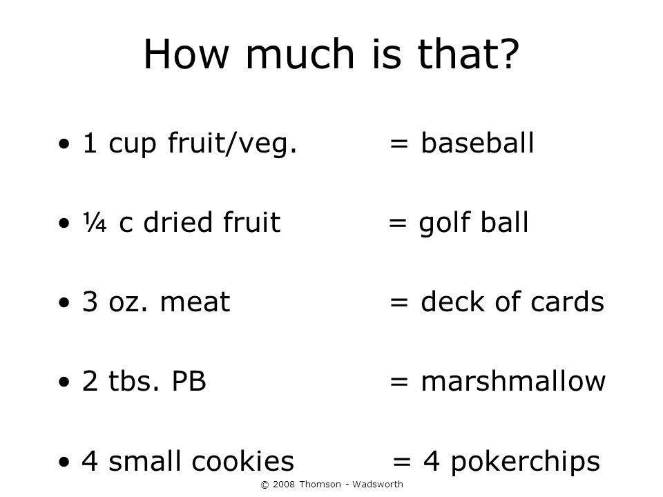 How much is that 1 cup fruit/veg. = baseball