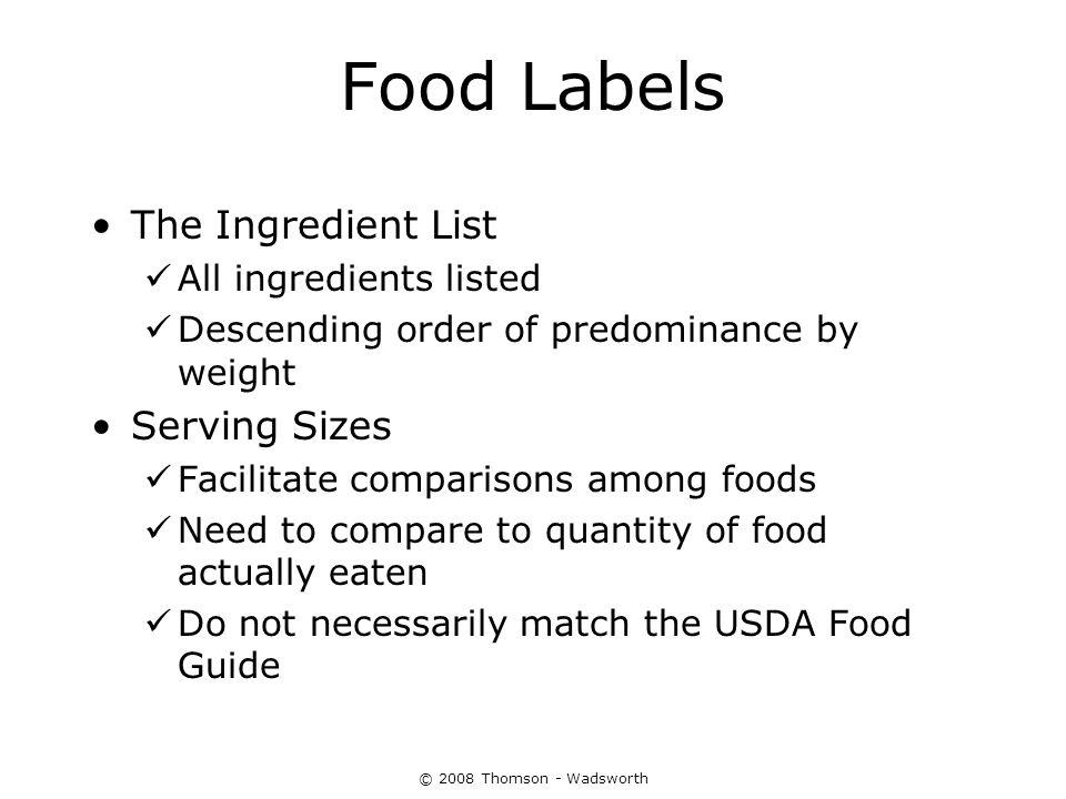 Food Labels The Ingredient List Serving Sizes All ingredients listed