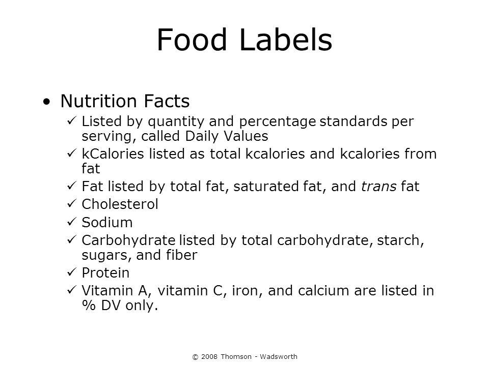 Food Labels Nutrition Facts