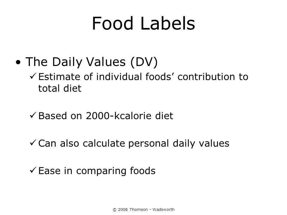 Food Labels The Daily Values (DV)