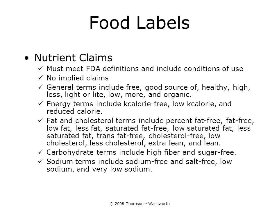 Food Labels Nutrient Claims