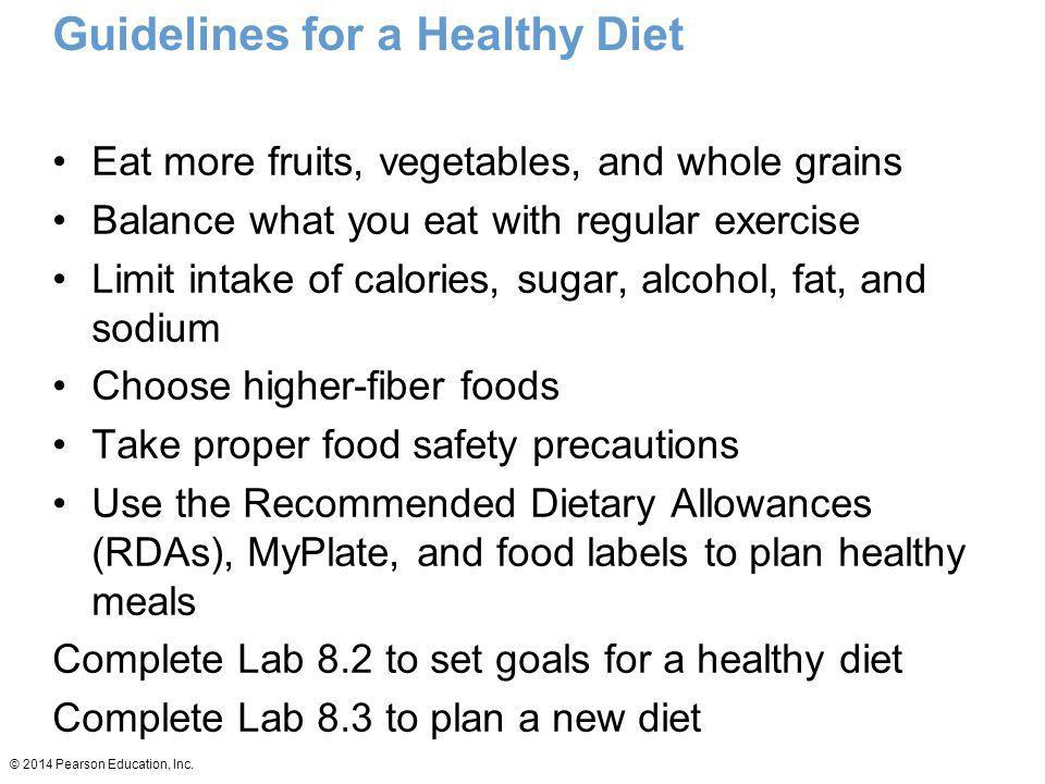 Guidelines for a Healthy Diet