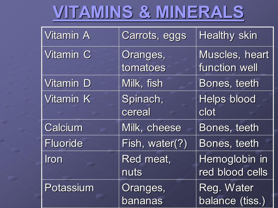 VITAMINS & MINERALS Vitamin A Carrots, eggs Healthy skin Vitamin C