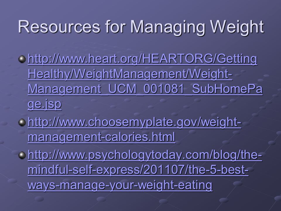 Resources for Managing Weight