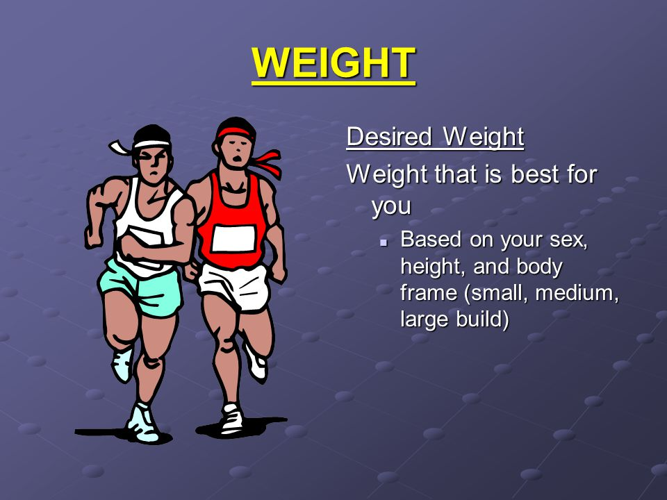 WEIGHT Desired Weight Weight that is best for you