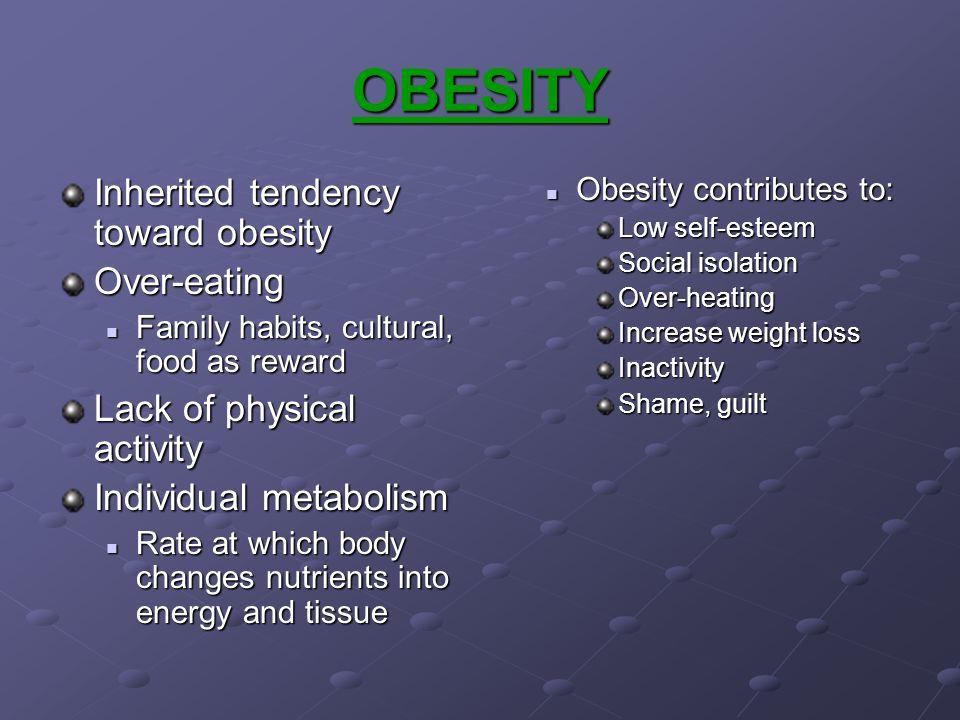 OBESITY Inherited tendency toward obesity Over-eating