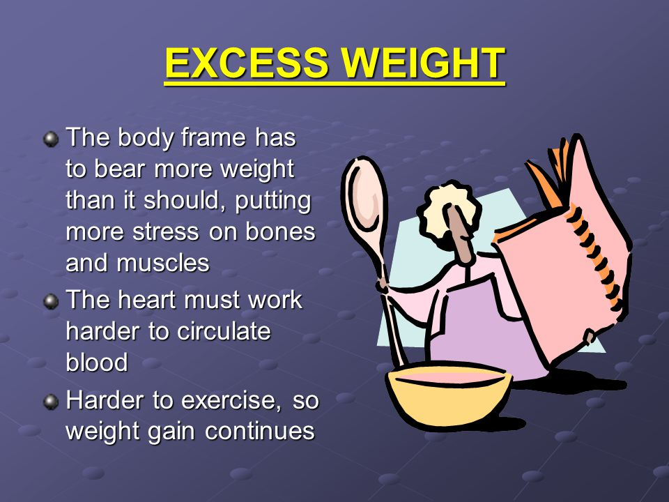 EXCESS WEIGHT The body frame has to bear more weight than it should, putting more stress on bones and muscles.