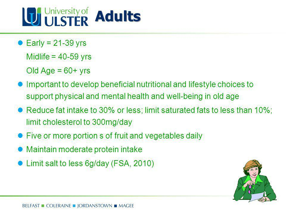 Adults Early = 21-39 yrs Midlife = 40-59 yrs Old Age = 60+ yrs