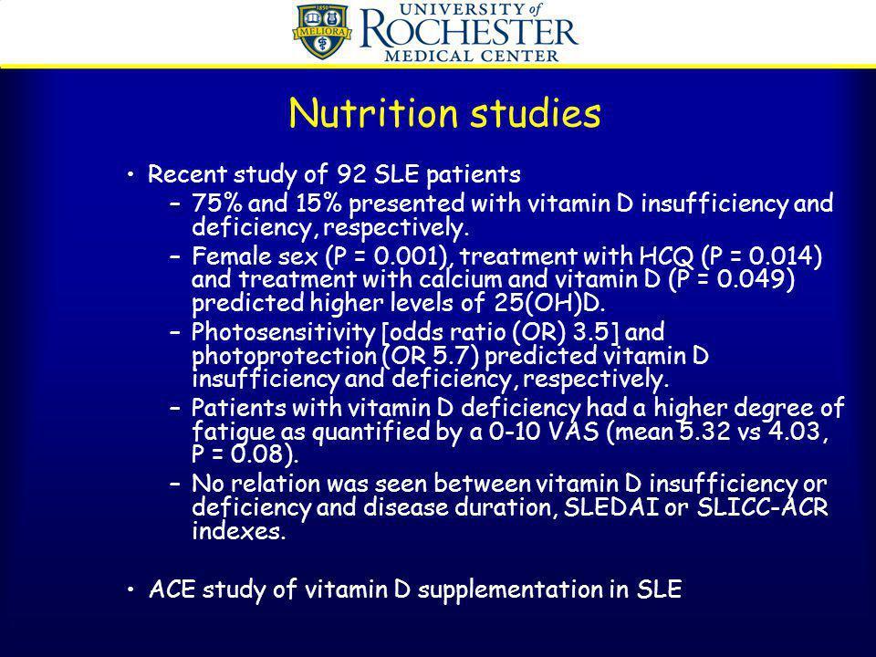 Nutrition studies Recent study of 92 SLE patients