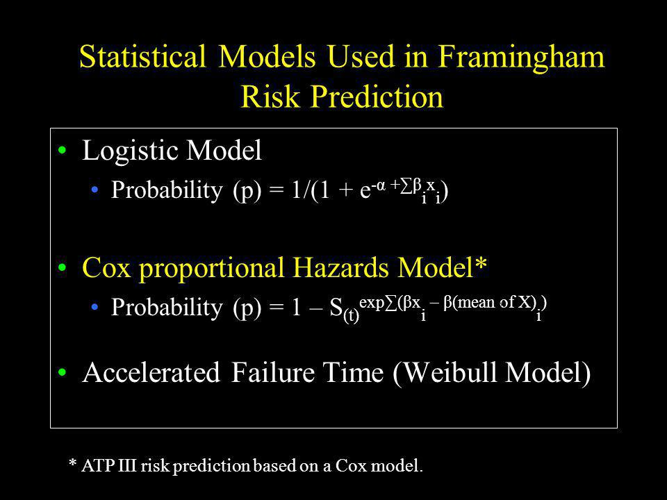 Statistical Models Used in Framingham Risk Prediction