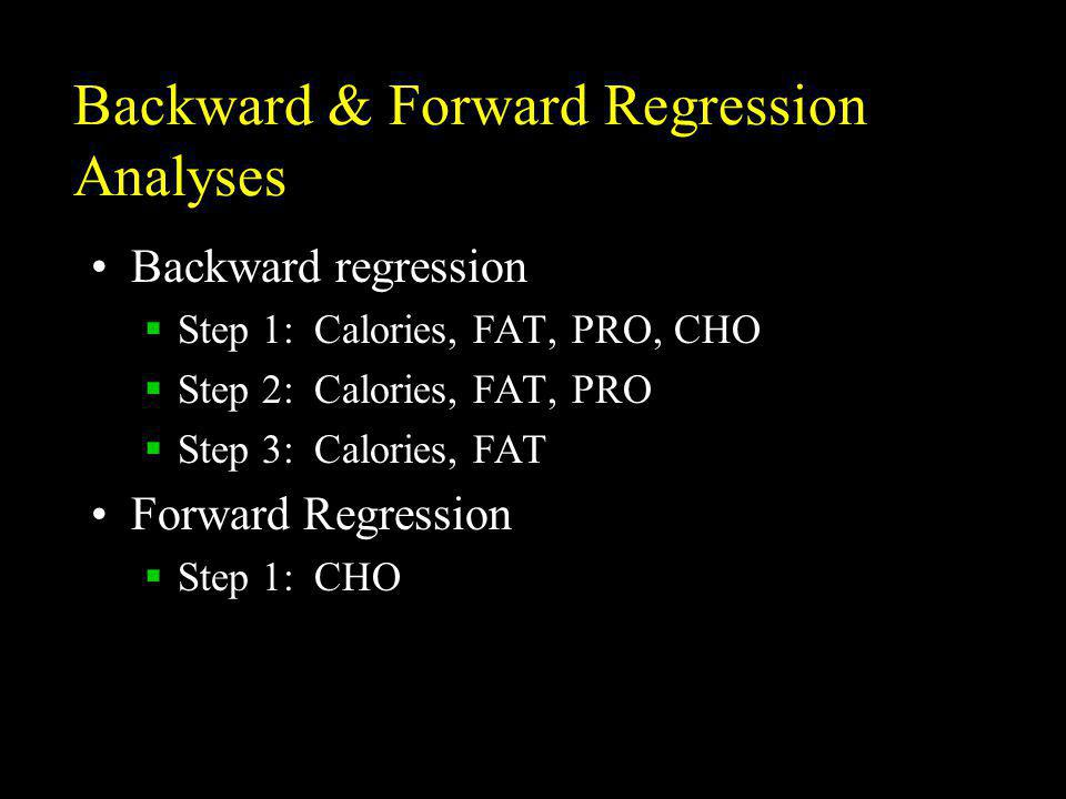 Backward & Forward Regression Analyses