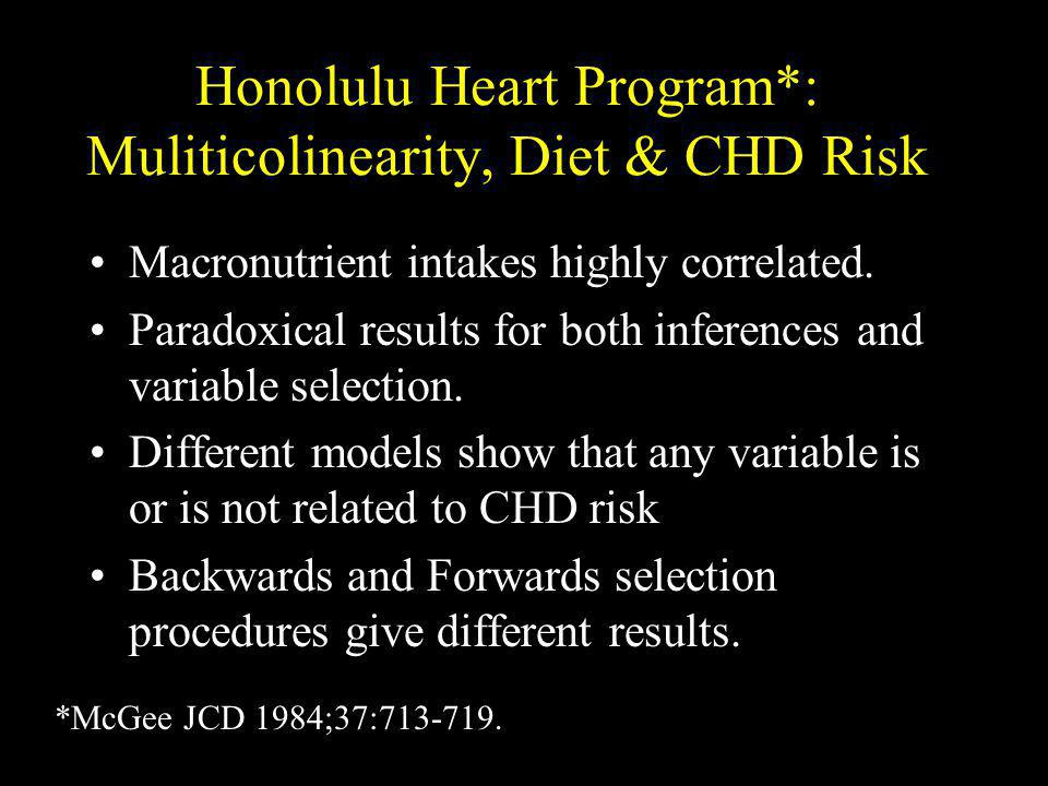 Honolulu Heart Program*: Muliticolinearity, Diet & CHD Risk