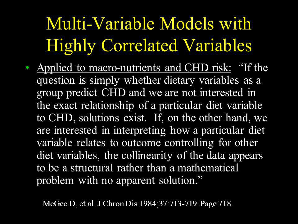 Multi-Variable Models with Highly Correlated Variables